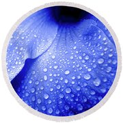 Blue Droplets Round Beach Towel