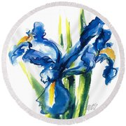 Blue Dutch Iris Flower Painting Round Beach Towel