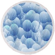 Round Beach Towel featuring the photograph Blue Eggs - Abstract Background by Michal Boubin