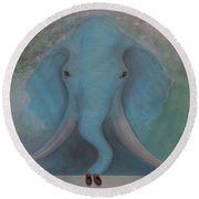 Round Beach Towel featuring the painting Blue Elephant by Tone Aanderaa