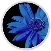 Blue Round Beach Towel by Elfriede Fulda