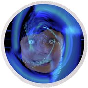 Round Beach Towel featuring the digital art Blue Eyed Girl by Seth Weaver