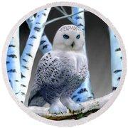 Blue-eyed Snow Owl Round Beach Towel