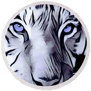 Blue Eyed Tiger Round Beach Towel