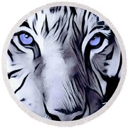 Blue Eyed Tiger Round Beach Towel