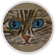 Blue Eyed Tiger Cat Round Beach Towel