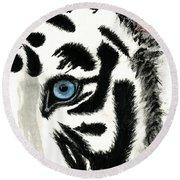 Blue-eyed Tiger Round Beach Towel