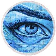 Blue Eyes Round Beach Towel