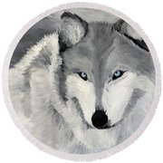 Round Beach Towel featuring the painting Blue Eyes by Kevin Daly