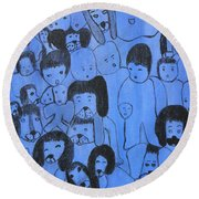Blue Faces Round Beach Towel