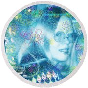 Blue Fairy Dream Round Beach Towel