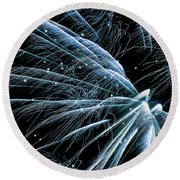 Round Beach Towel featuring the photograph Blue Fairy Fireworks #0710_3 by Barbara Tristan