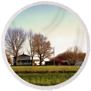 Blue Farmhouse Round Beach Towel by Spyder Webb