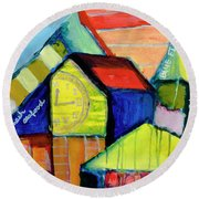 Round Beach Towel featuring the painting Blue Fin's Fresh Seafood by Susan Stone