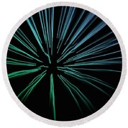Round Beach Towel featuring the photograph Blue Firework by Chris Berry