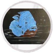 Blue Fish Round Beach Towel