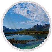 Blue Fjord Round Beach Towel by Tamara Sushko