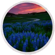 Blue Flame Round Beach Towel