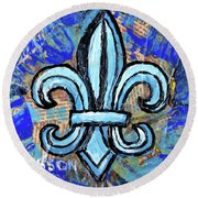 Round Beach Towel featuring the mixed media Blue Fleur De Lis by Genevieve Esson