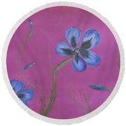 Blue Flower Magenta Background Round Beach Towel