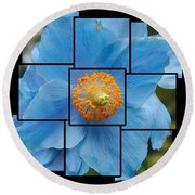 Blue Flower Photo Sculpture  Butchart Gardens  Victoria Bc Canada Round Beach Towel