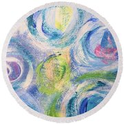 Round Beach Towel featuring the painting Blue Flowers - Abstract Painting by Cristina Stefan