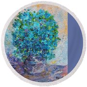 Round Beach Towel featuring the painting Blue Flowers In A Vase by AmaS Art