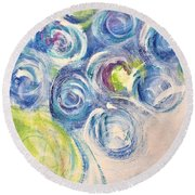 Round Beach Towel featuring the painting Blue Flowers In A Vase - Painting by Cristina Stefan