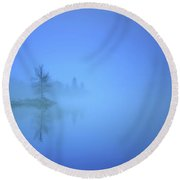 Round Beach Towel featuring the photograph Blue Fog At Skaha Lake by Tara Turner