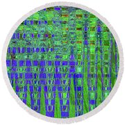 Blue For Green Round Beach Towel