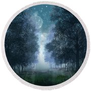 Blue Forest 2 Round Beach Towel by Bekim Art