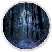 Blue Forest Round Beach Towel by Bekim Art