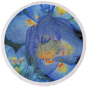 Round Beach Towel featuring the photograph Blue Freesia's by Lance Sheridan-Peel
