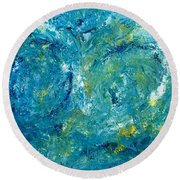 Round Beach Towel featuring the painting Blue Galaxy by Dorothy Maier