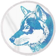 Blue Galaxy Wolf Round Beach Towel