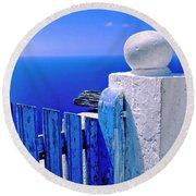 Blue Gate Round Beach Towel by Silvia Ganora
