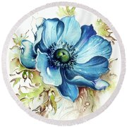 Round Beach Towel featuring the painting Blue Gem by Anna Ewa Miarczynska