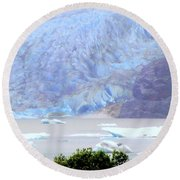 Blue Glacier Round Beach Towel by Mindy Newman