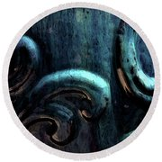 Blue Glazed Vessel Detail Digital Painting 2365 Dp_2 Round Beach Towel