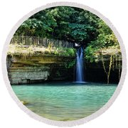 Round Beach Towel featuring the photograph Blue Glory by Cricket Hackmann