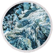 Blue Gnome Rock Round Beach Towel by Daniel Hebard