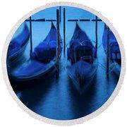 Round Beach Towel featuring the photograph Blue Gondolas by Brian Jannsen