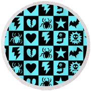 Blue Goth Punk Checkers Round Beach Towel