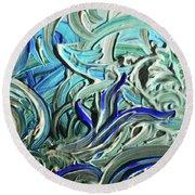 Blue Gray Acrylic Brush Strokes Abstract For Interior Decor I  Round Beach Towel