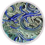 Blue Gray Acrylic Brush Strokes Abstract For Interior Decor II Round Beach Towel