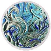 Blue Gray Acrylic Brush Strokes Abstract For Interior Decor IIi Round Beach Towel