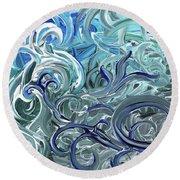 Blue Gray Brush Strokes Abstract Art For Interior Decor Iv Round Beach Towel