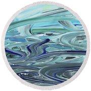 Blue Gray Brush Strokes Abstract Art For Interior Decor Vii Round Beach Towel