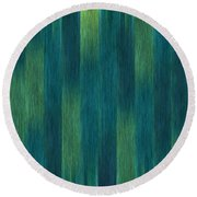 Blue Green Abstract 1 Round Beach Towel