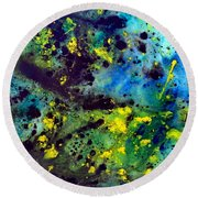 Blue Green Chaos Round Beach Towel
